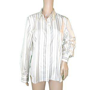 Ralph Lauren White Ivory Gray Dress Shirt Blouse L